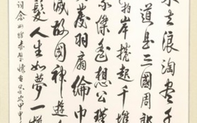 "CHINESE SCROLL PAINTING ON PAPER Depicting extensive calligraphy. Signed and seal marked. 33"" x 25""."
