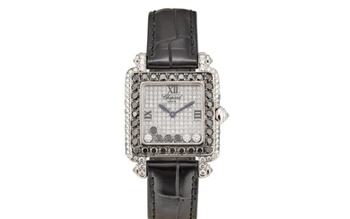 CHOPARD | HAPPY SPORT, REFERENCE 27/6730-50 A WHITE GOLD, DIAMOND AND BLACK DIAMOND-SET WRISTWATCH, CIRCA 2005