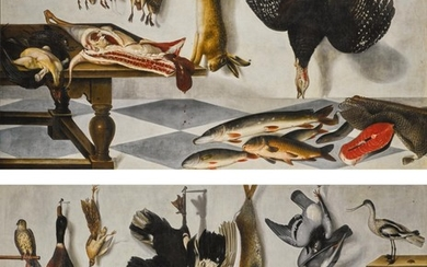 CORNELIS BILTIUS | A pair of trompe l'œil game larder still lifes: with a hare, partridge, snipe, turkey, pike, eel and fish, with a parrot; and with pigeons, a hare, calf's head, asparagus, lobster and trout, with a hawk and a plover