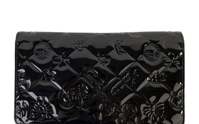 Chanel - Black Quilted Patent Leather Icon Symbols LongWallet