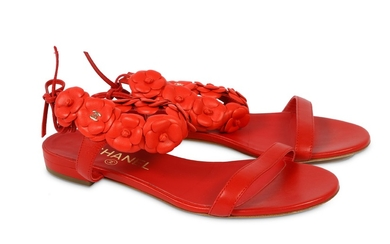 Chanel Red Leather Camellia Ankle Strap Sandals - size 36.5