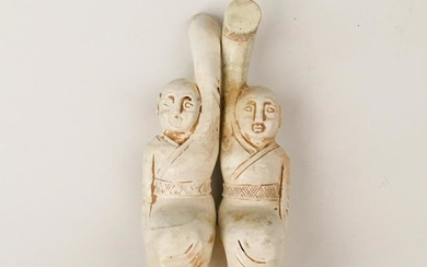 Chinese Archaic Jade 'Dancing Lady' Statue Pair