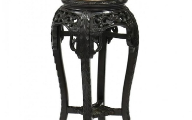 Chinese Carved Hardwood Marble Top Table
