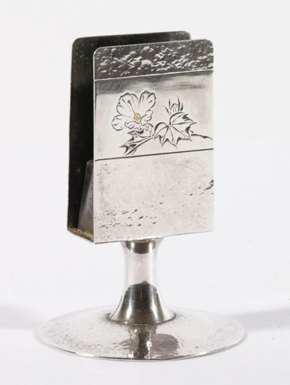 Chinese Export Silver Match Box Holder, of Standing Form Hand Beaten with Floral Motif (H9cm) wt. 76g