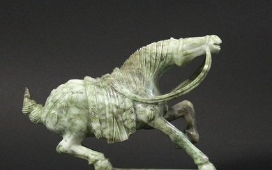 Chinese Fine Quality Green Jade Horse Sculpture