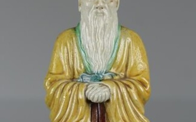 Chinese, Multi-Colored Glazed Seated Scholar