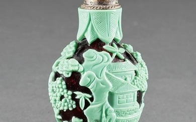 Chinese Overlay Amber Glass Snuff Bottle