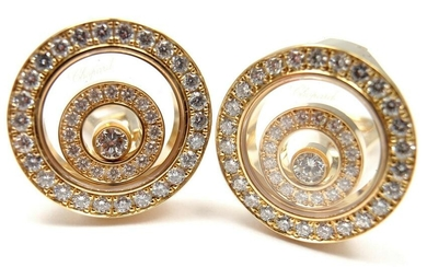 Chopard 18k Yellow Gold Happy Spirit Diamond Earrings