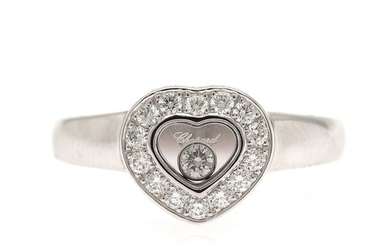 """Chopard: A """"Happy Diamonds"""" diamond ring set with numerous brilliant-cut diamonds, mounted in 18k white gold. Size app. 52. Signed Chopard."""