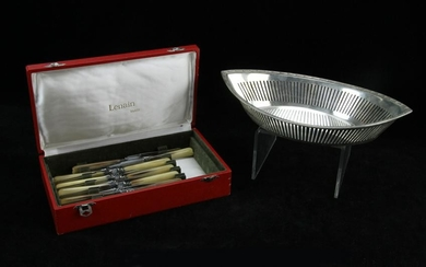 Christofle Silverplated Basket and Knives