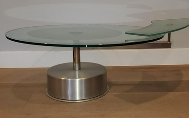 Chrome and Glass coffee Table with Revolving Side tray