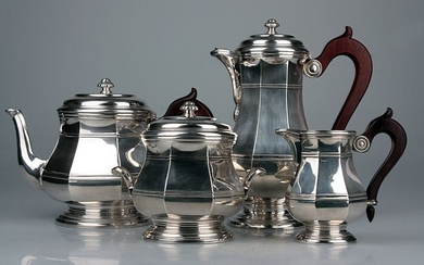 Coffee and tea service, Silver Art-Deco coffee and tea set - .950 silver - Emile Puiforcat - France - First half 20th century