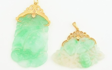 Collection of Two Jade, 18k Yellow Gold Pendants.