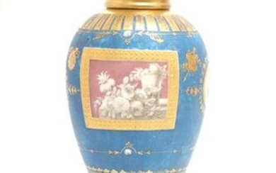 Continental Hand-Painted Porcelain Mantel Urn