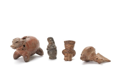 Costa Rica four small figures of red fired clay. 1000–1400. H. 6–8 cm. (4)