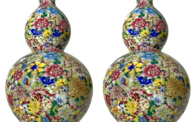 Couple of small double-gourd vases finely decorated in