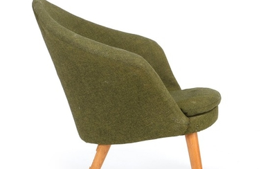 Danish furniture design: Easy chair with round, tapering oak legs. Sides, seat and back upholstered with moss green wool fabric.
