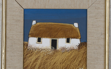 David Humphreys - Thatched Cottage, late 20th century acrylic on board, signed with initials, 14.5cm