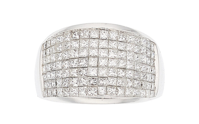 Diamond, White Gold Ring The ring features square brilliant-cut...