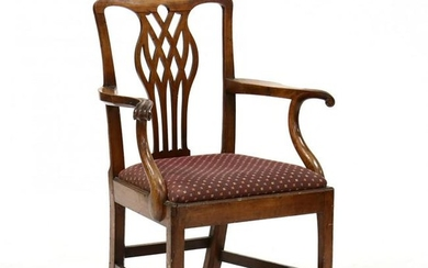 English Chippendale Carved Armchair