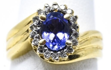 Estate 14kt Yellow Gold Tanzanite & Diamond Ring