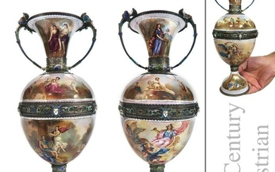 Exquisite Large Pair of Viennese Enamel Silver Vases