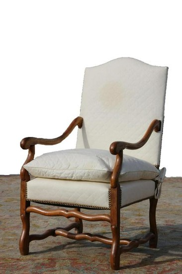 FRENCH ANTIQUE HAND PEGGED OAK ARM CHAIR