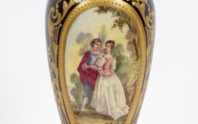 FRENCH SEVRES HAND PAINTED PORCELAIN AND BRONZE VASE 19TH C. 13.25 DIA 3.25
