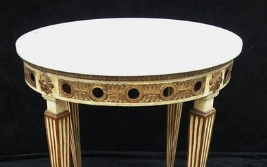 FRENCH STYLE GILT & PAINT DECORATED MARBLE TOP CIRCULAR