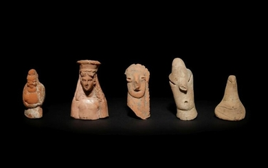 Five Terracotta Fragments Height of largest fragment 2