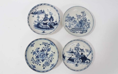 Four 18th century Lowestoft blue and white porcelain saucers, three of which are painted and one printed