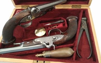 France - LAVAL - St. Etienne - TRAVELING - Percussion - PAIR TRAVELING PISTOLS IN CASE