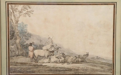 Francesco CASANOVA (London, 1727 - Mödling, 1802) The halt of the herd Black pencil, brown wash and watercolour. Height 23,9 Width 35,2 cm. (spots). Provenance: descendant of Claret (1805-1886), architect-decorator of Napoleon III and protégé of Baron...