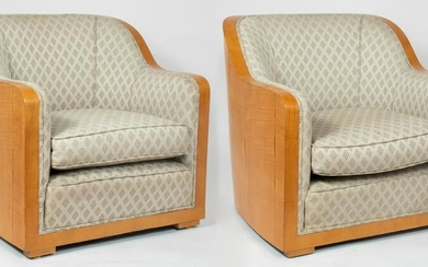 French Art Deco Barrel Back Club Chairs, Pair