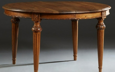 French Carved Walnut Louis XVI Style Dining Table, 20th