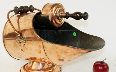 French copper coal scuttle with scoop