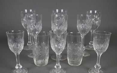 GLASSES - crystal, 11 pieces, colorless glass, cut decoration.