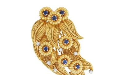 Gold, Sapphire and Diamond Flower and Leaf Clip-Brooch