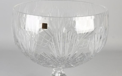 Grand Bohemian crystal fruit bowl. Faceted. 21st