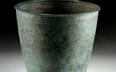 Greek Hellenistic Bronze Situla w/ Incised Circles