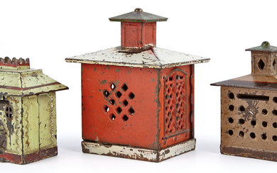 Group of Three Cast Iron Architectural Still Banks