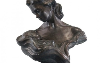 HEATH, Austin Prod. Mother and Infant Sculpture Bronzed