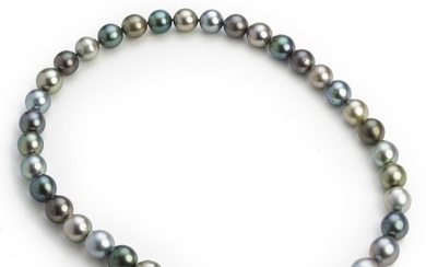 NOT SOLD. Hartmann's: A Tahiti pearl necklace with cultured peacock coloured Tahiti pearls with a...