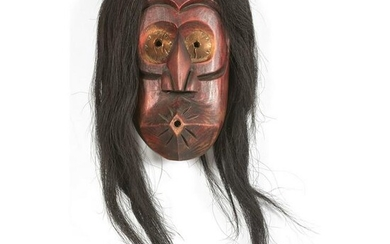 "Haudenosaunee Carved Wood ""Whistler"" Mask"