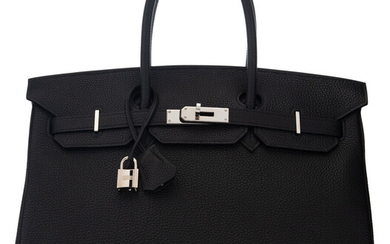 Hermès 35cm Black Togo Leather Birkin Bag with Palladium...