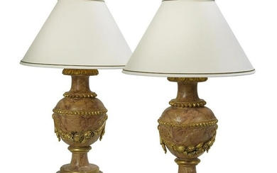 Italian Parcel-Gilt and Faux Marbre Wooden Urns