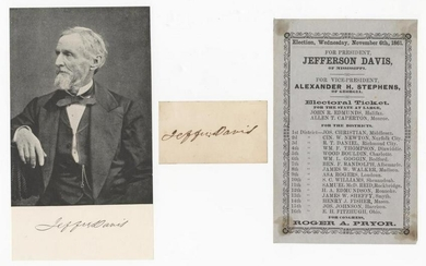 Jefferson Davis Signature & Election Piece