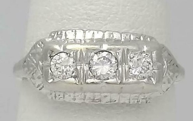 LADIES 14k WHITE GOLD 1/3ct ROUND DIAMOND PRINCESS