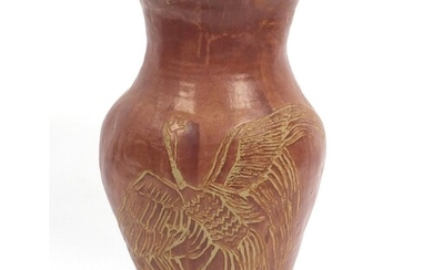 Large Andy Chan pottery floor standing vase, 47cm high