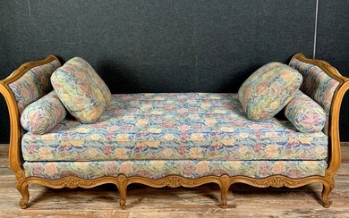 Large Louis XV style bed or bench in the shape of a boat in fruit wood - Wood - 1900